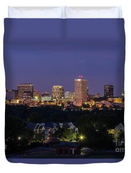 Columbia Skyline At Twilight Duvet Cover