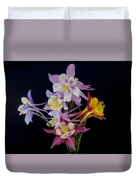 Duvet Cover featuring the photograph Columbine Medley by Gary Lengyel