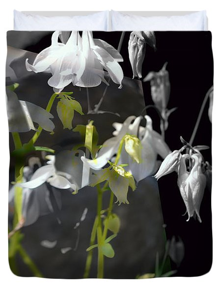Columbine Shades Of Grey Duvet Cover by Elaine Hunter