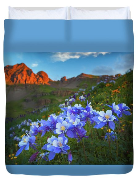 Duvet Cover featuring the photograph Columbine Sunrise by Darren White