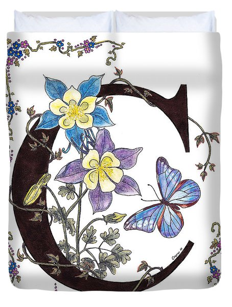 Columbines And A Cramer's Blue Morpho Butterfly Duvet Cover by Stanza Widen