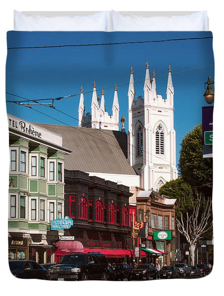 Columbus And Stockton In North Beach Duvet Cover