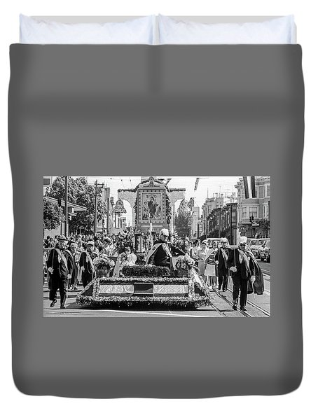 Columbus Day Parade San Francisco Duvet Cover