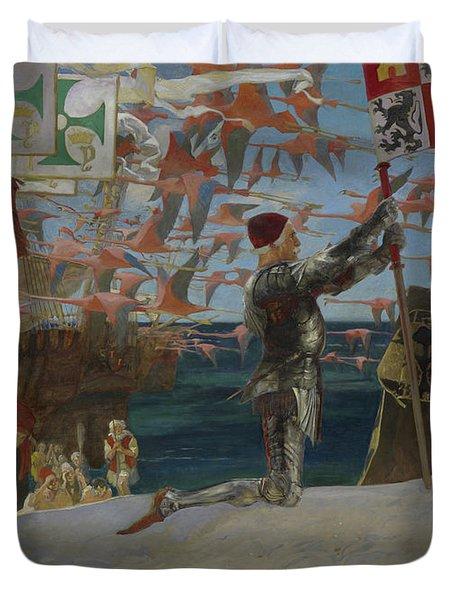 Columbus In The New World Duvet Cover