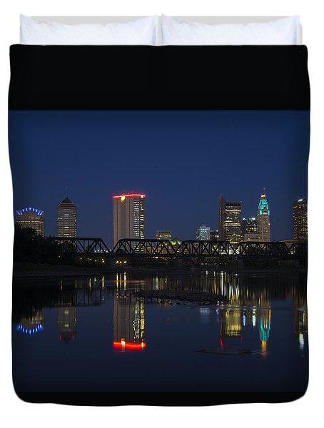 Columbus Night Reflection Duvet Cover
