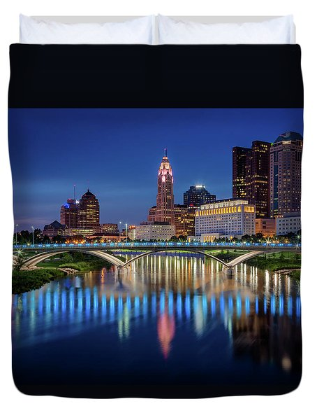 Duvet Cover featuring the photograph Columbus Ohio Skyline At Night by Adam Romanowicz