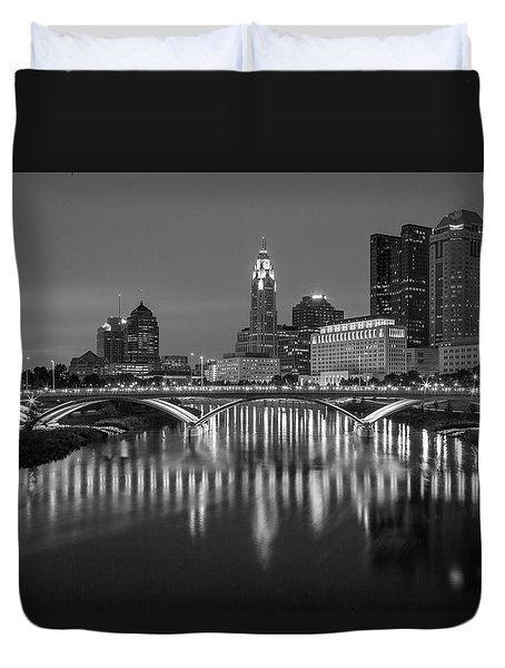 Duvet Cover featuring the photograph Columbus Ohio Skyline At Night Black And White by Adam Romanowicz
