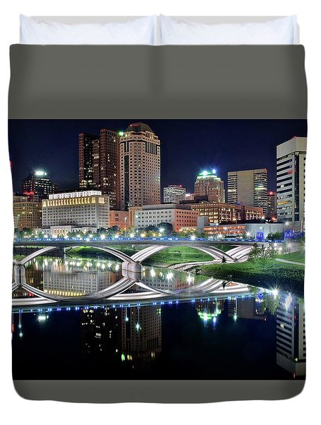 Columbus Over The Scioto Duvet Cover by Frozen in Time Fine Art Photography