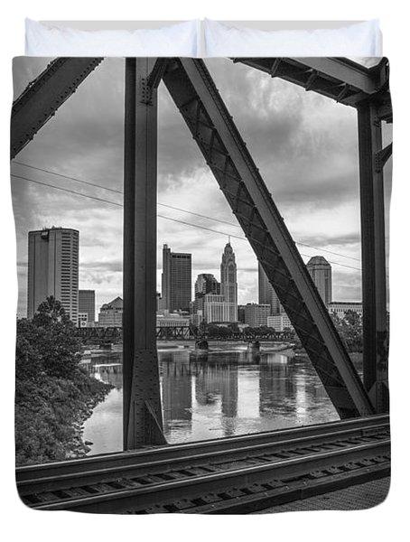 Columbus Train Tracks  Duvet Cover