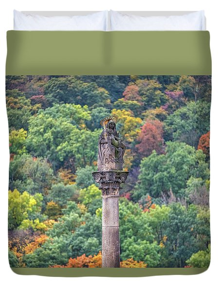 Duvet Cover featuring the photograph Column With Pieta Statue - Prague by Stuart Litoff