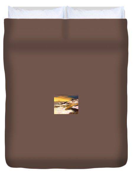 Duvet Cover featuring the painting Come Home by Gail Kirtz