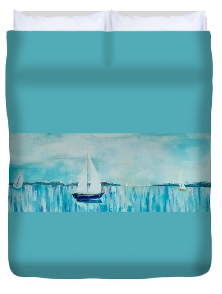 Duvet Cover featuring the painting Come Sail Away by Gary Smith