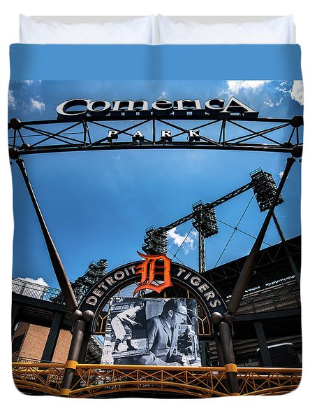 Duvet Cover featuring the photograph Comerica Park by Onyonet  Photo Studios