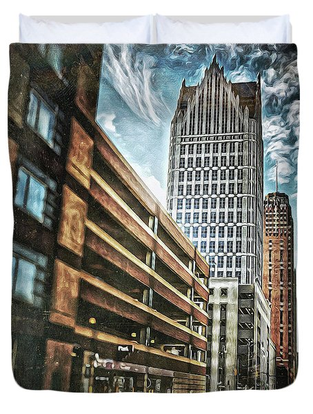 Comerica Tower Duvet Cover by Donald Yenson