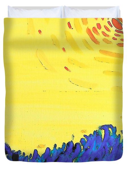 Duvet Cover featuring the painting Comet by Lenore Senior