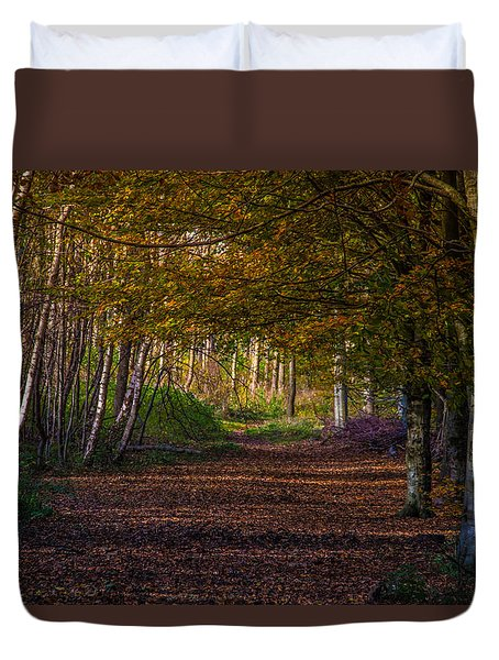 Duvet Cover featuring the photograph Comfort In These Woods by Odd Jeppesen