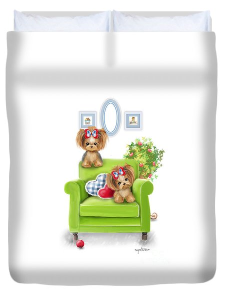 Duvet Cover featuring the painting Comfy Chair by Catia Lee