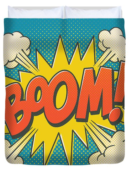 Comic Boom On Blue Duvet Cover