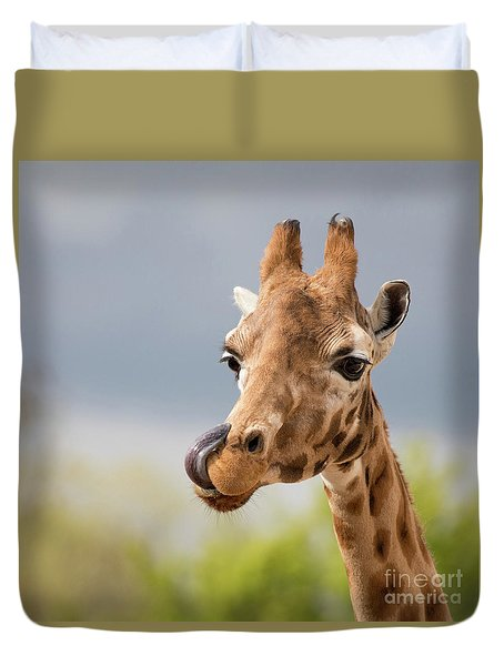 Comical Giraffe With His Tongue Out.  Duvet Cover