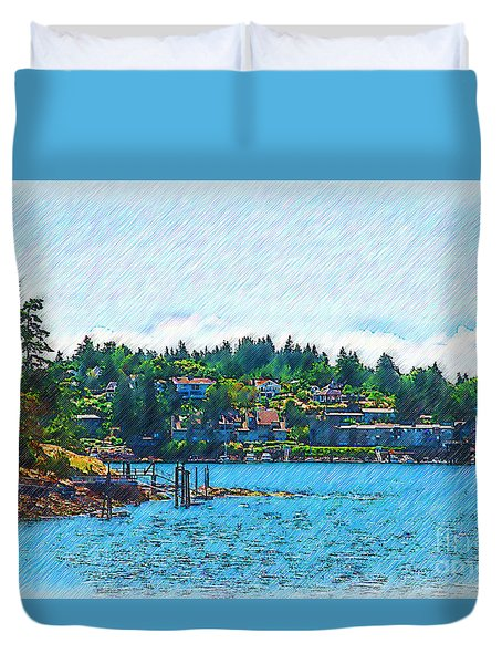 Duvet Cover featuring the digital art Coming Into Friday Harbor by Kirt Tisdale