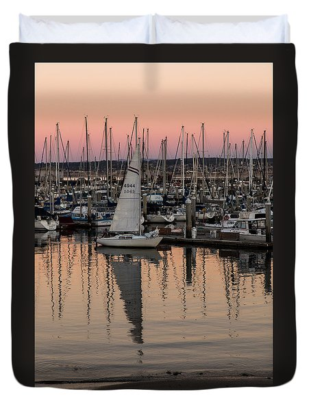 Coming Into The Harbor Duvet Cover by Lora Lee Chapman
