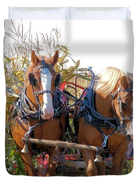 Coming Through The Corn Duvet Cover by Valerie Kirkwood