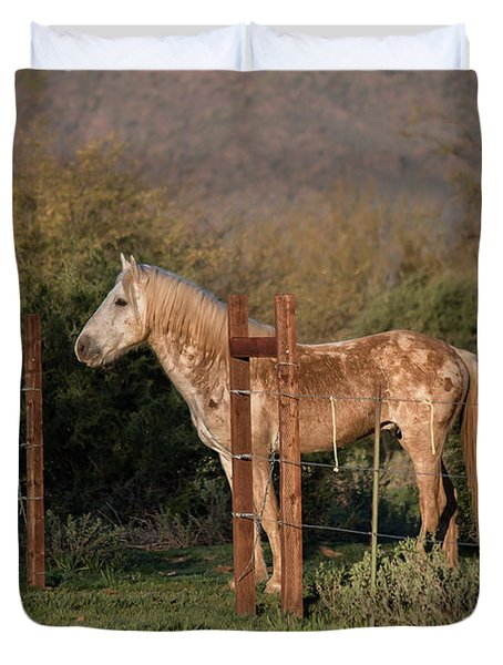 Coming Through The Fence Duvet Cover