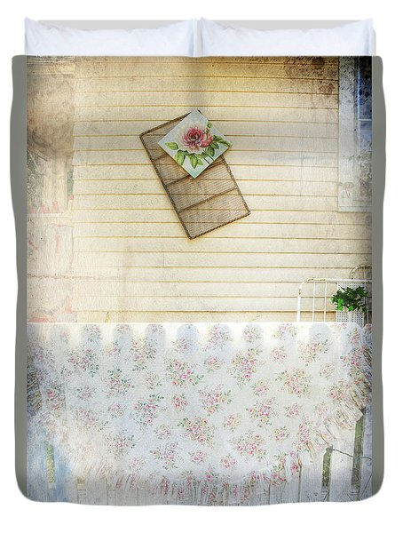Duvet Cover featuring the photograph Coming Up Roses by Craig J Satterlee