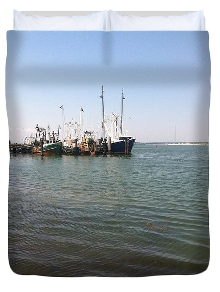 Commercial Fishing Boats Duvet Cover by Katikaila Green