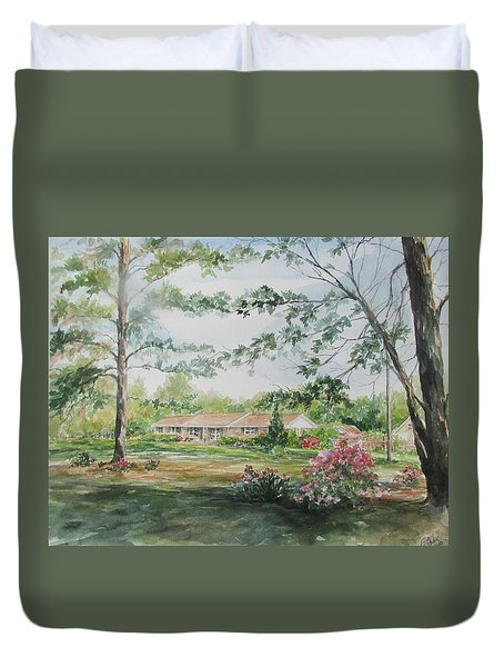Commissioned Home Portrait Duvet Cover by Gloria Turner