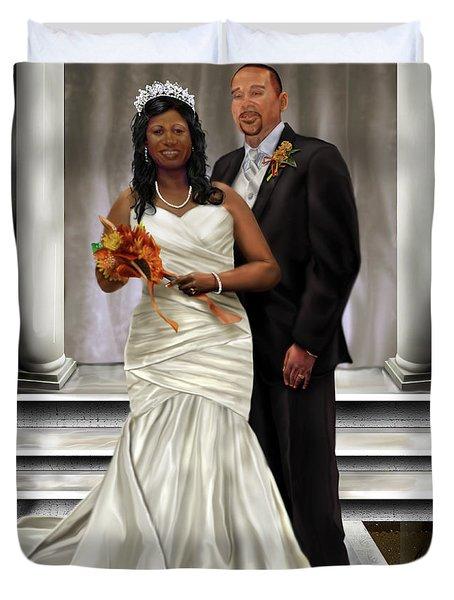 Commissioned Wedding Portrait  Duvet Cover by Reggie Duffie