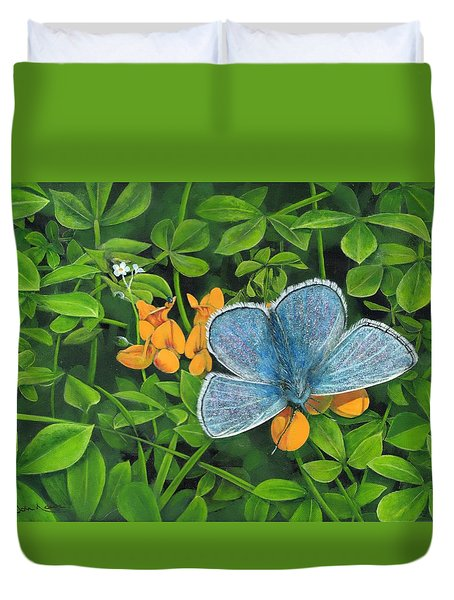 Common Blue On Bird's-foot Trefoil Duvet Cover