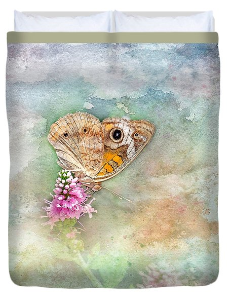 Duvet Cover featuring the photograph Common Buckeye by Betty LaRue