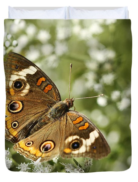 Common Buckeye Butterfly On White Thoroughwort Wildflowers Duvet Cover