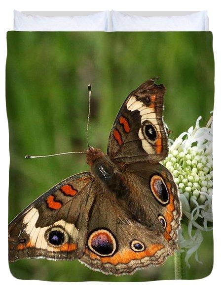Common Buckeye Butterfly On Wildflower Duvet Cover