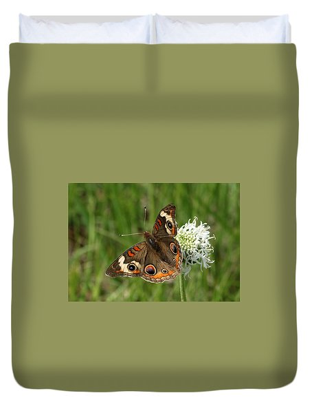 Common Buckeye Butterfly On Wildflower Duvet Cover