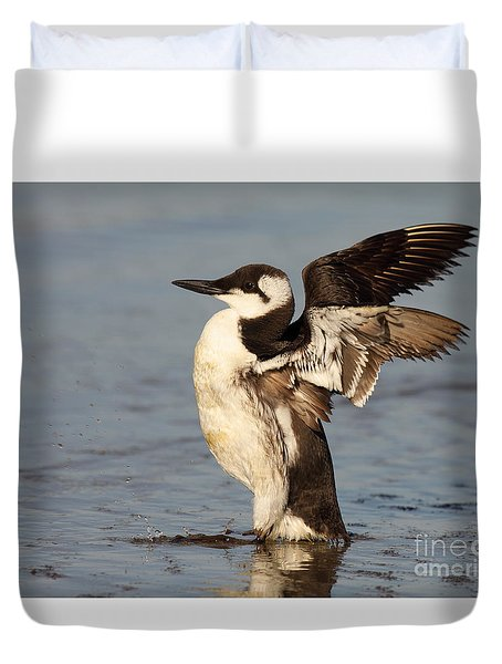 Duvet Cover featuring the photograph Common Murre Stretching Wings by Max Allen
