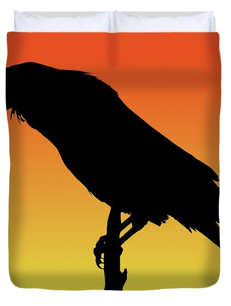 Common Raven Silhouette At Sunset Duvet Cover