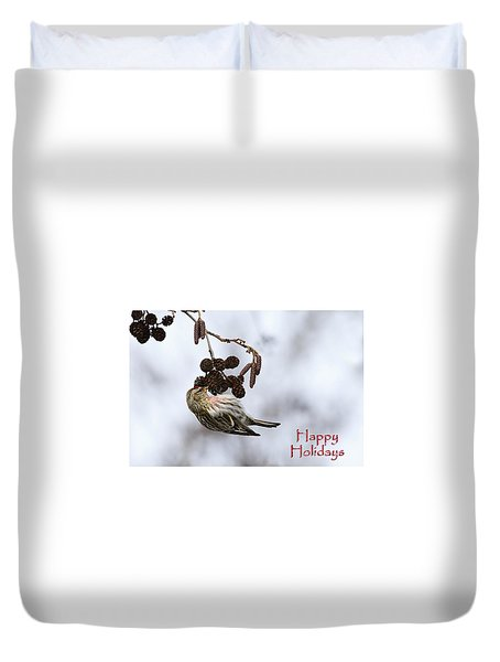 Duvet Cover featuring the photograph Common Redpoll Christmas Card by Gary Hall