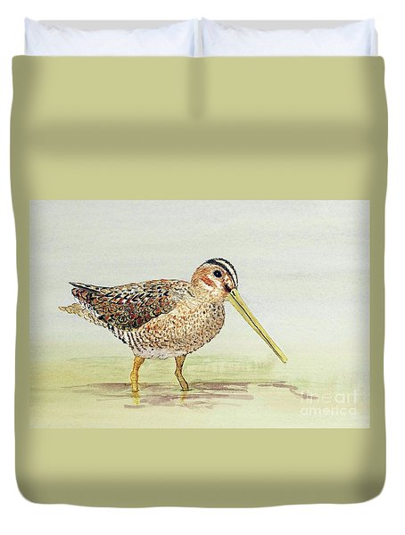 Common Snipe Wading Duvet Cover
