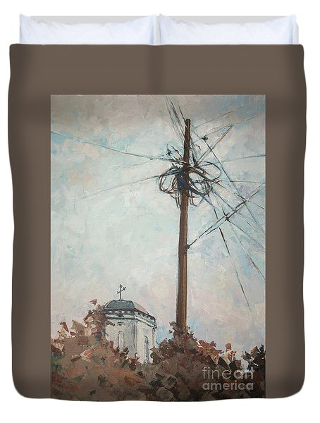 Duvet Cover featuring the painting Communication by Olimpia - Hinamatsuri Barbu