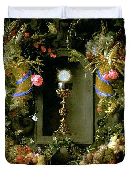 Communion Cup And Host Encircled With A Garland Of Fruit Duvet Cover by Jan Davidsz de  Heem