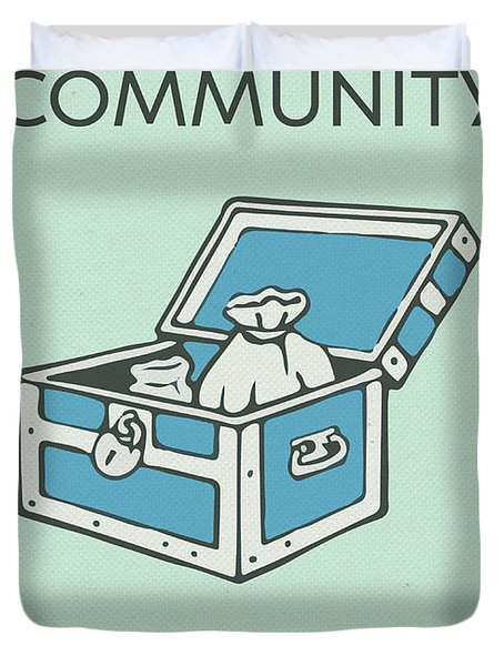 Community Chest Vintage Monopoly Board Game Theme Card Duvet Cover