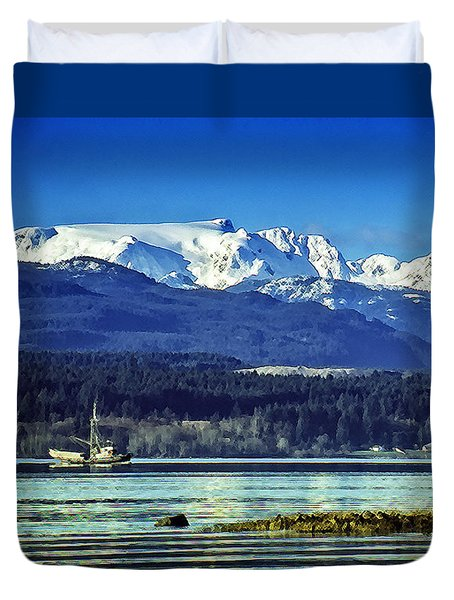Comox Glacier And Herring Boat Duvet Cover by Richard Farrington