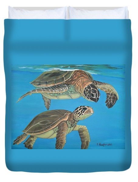 Companions Of The Sea Duvet Cover by Elaine Haakenson