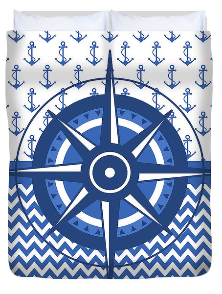 Compass Windrose Duvet Cover