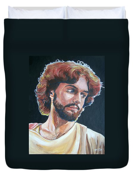 Duvet Cover featuring the painting Compassionate Christ by Bryan Bustard
