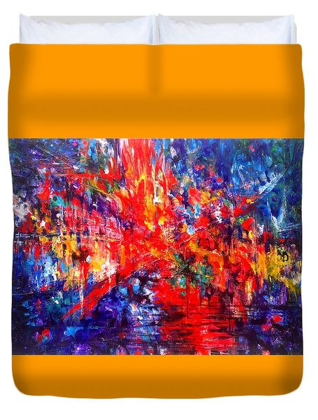 Composition # 1. Series Abstract Sunsets Duvet Cover
