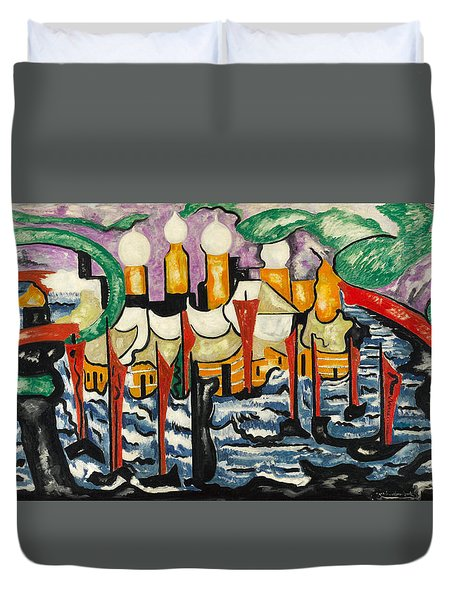 Duvet Cover featuring the painting Composition No.62 by Jacoba van Heemskerck