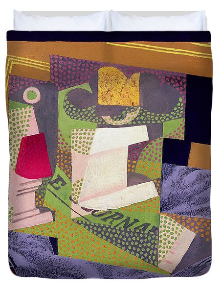 Composition On A Table Duvet Cover by Juan Gris